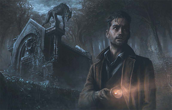 Investigator with beast behind him