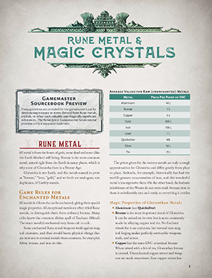 Rune Metal and Crystals
