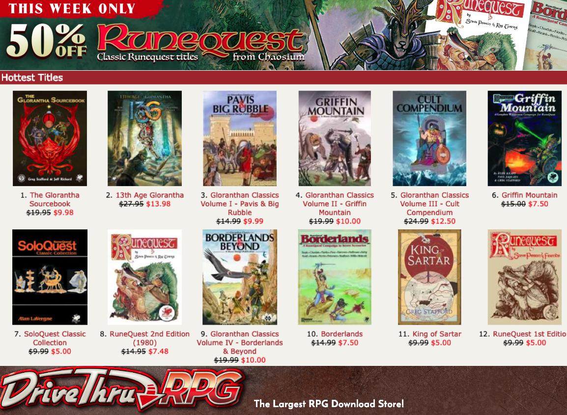 DTRPG RQ Classic Sale