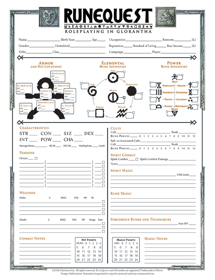 RuneQuest Character Sheet