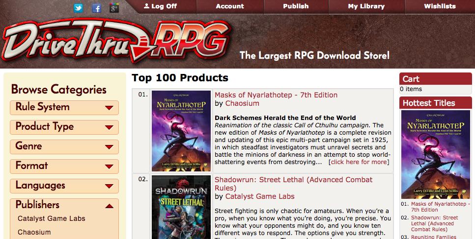 Masks of Nyarlathotep is #1 seller at DriveThru RPG! - Chaosium Inc