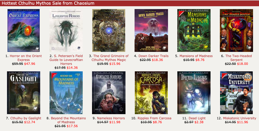 175 Call of Cthulhu titles are 20% off in DriveThruRPG's