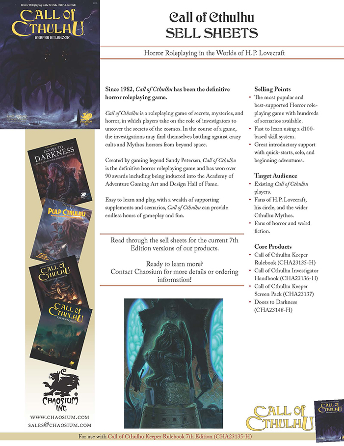 Call of Cthulhu - Sell Sheets