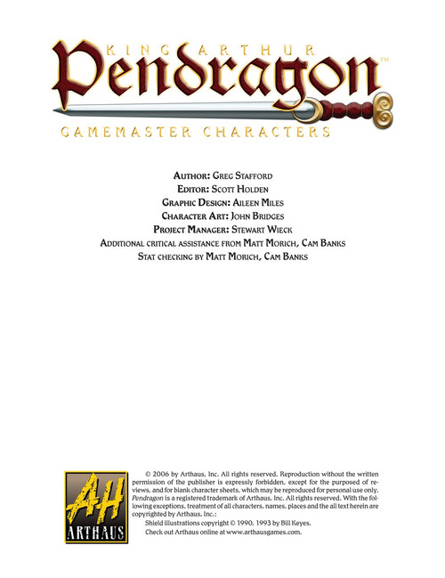Pendragon Gamemaster Characters - Front Cover