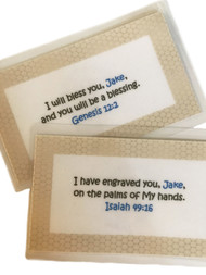 Sweet Notes for Kids is a color set of personalized scripture verses with a honeycomb border that are laminated.