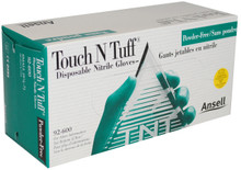 Ansell 92-600 XL X-Large 9.5-10  Touch N Tuff Nitrile Gloves Powderfree Case 1000 (10 x 100)