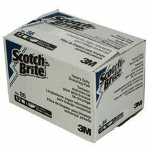 3M PAD86 Scotch-Brite 86 Commercial Heavy-Duty Scouring Pad Green 6 x 9 12/Pack