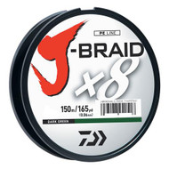 J-Braid Braided Line, 15 lbs Tested - 165 Yards/150m Filler Spool, Dark Green