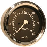 VDO Allentare Black 6000RPM 3-3/8 (85mm) Sterndrive Tachometer - 12V - Chrome Bezel