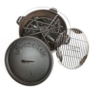 """Combo Set - Lid Lifter/Flip Grill/Charcoal/Wood Holder Heat Source/KickStand and 12"""" Oven"""
