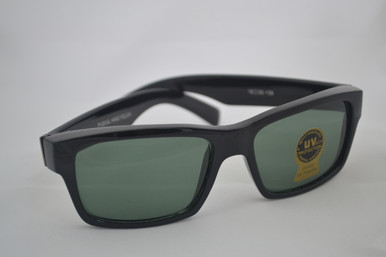 Classic black sunglass with wide, silver accented temples.