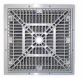 "CUSTOM MOLDED PRODUCTS | 9"" x 9"" SQUARE FRAME & GRATE, GRAY 