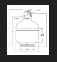 "Jacuzzi®| Laser COMPLETE SAND FILTER, TOPMOUNT, L250-7C, 25"", 1-1/2"" VALVE | 94089250"