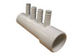 "Waterway | MANIFOLD | 4-PORT 1"" SLIP X 1"" SPIGOT X (4) 3/8"" RIBBED BARB 