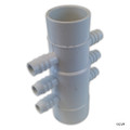 "Waterway | MANIFOLD | 6-PORT FLO-THRU 2"" SLIP X 2"" SPIGOT X 3/4"" RIBBED BARB 