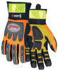 "Memphis HV100 - ""ForceFlex"" Hi Vis, Clarino Synthetic Leather, Rough Kevlar Palm Pad, Orange Mesh Fabric, Reflective Material Cuff Glove (1 Pair)"