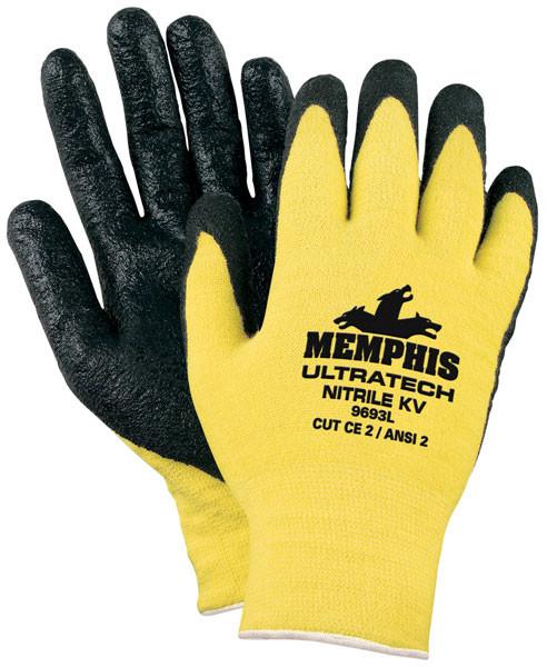 Memphis 9693 L Kevlar Yellow Cut Resistant Gloves Black Nitrile Coated (12 Pair) (02-469693.12)