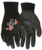 MCR Safety 9669XS, 13 Gauge Black Nylon Shell, Black PU Palm & Fingers, XS (12pr)
