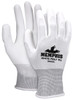 MCR Safety 96655XS, 13 Gauge Wht Polyester Shell, Wht PU Palm & Fingertips, XS (12pr)