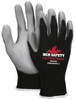 MCR Safety 96695XS, Latex Free 15- Gauge Black Nylon Shell, Gray PU Palm & Fingers, XS (12pr)