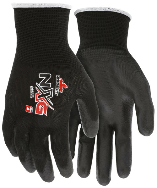 MCR Safety 96699XS, 13 Gauge Black Polyester Shell, Black PU Palm & Fingers, XS (12pr)
