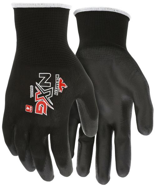MCR Safety 96699XXL, 13 Gauge Black Polyester Shell, Black PU Palm & Fingers, XXL (12pr)