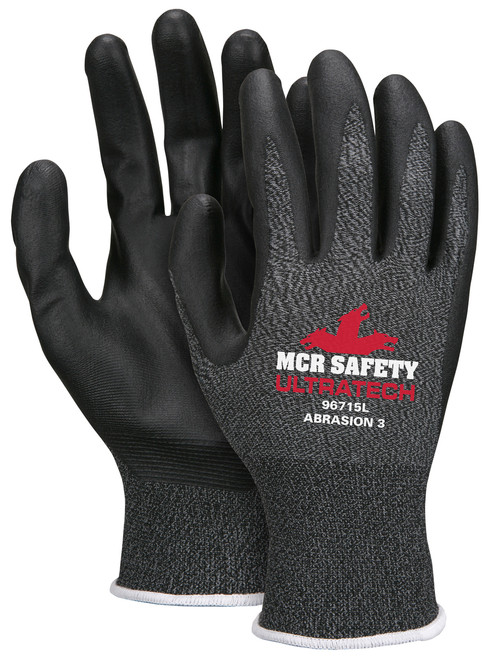 MCR Safety 96715XS, Latex Free, 15G Pepper/Salt Nylon Shell, Blk Foam Nitrile Palm &Fingers, XS (12pr)