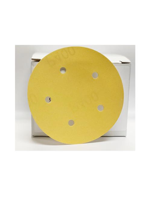 """Superior Gold Plus 5"""" 5-Hole Grip Discs, 220G (100/box)"""