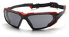 Pyramex SBR5020DT Highlander Safety Glasses, Frame: Black-Red, Lens: Gray Anti-Fog (12 Pair)