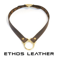 Simple Leather Collar, Solid Brass Hardware - Distressed Brown