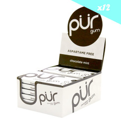 PUR Chocolate Mint Gum 12.6g CARTON (12 PACKETS)
