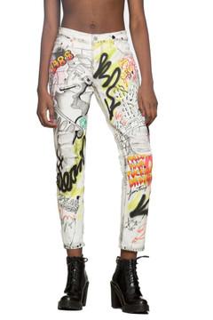 White Graffiti Denim Jeans