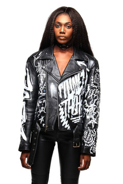 """MONEY TALKS"" OVERSIZED LEATHER JACKET"