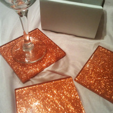 Fused Gla Orange Glitter Coasters Set of 6