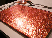 Fused Glass Placemats in Orange Glitter Set of 6