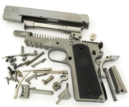 """1911 80% Build Kit 5"""" .45 ACP Ramped Barrel Series 80 Forged 416 R Railed Frame with Smooth Grip and Novak Cut Slide"""