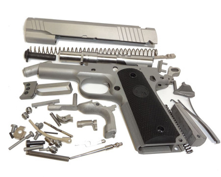"""1911 80% Build Kit 5"""" .45 ACP Forged 4140 Steel with Checkered and Grip Para or Novak Sight Cuts"""