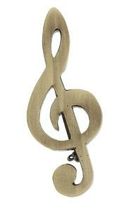 Jumbo Pin G-Clef Polished Brass Silver
