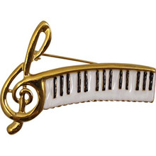 Brooch G-clef Keyboard White