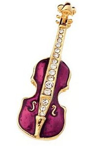Brooch Rhinestone Small Violin