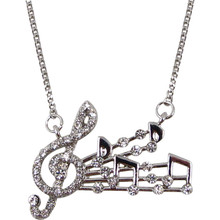 Necklace Music Staff/Notes w Crystals