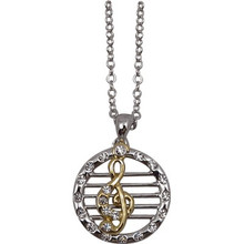 Necklace G Clef 2tone Silver Chain