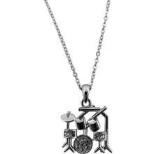 Necklace 2Tone Drumset Rhinestone