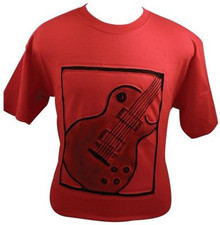 T-Shirt Emb Guitar Red/Black -Medium, Large