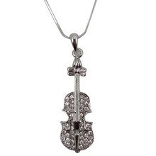 Necklace Violin W/Rhinestones