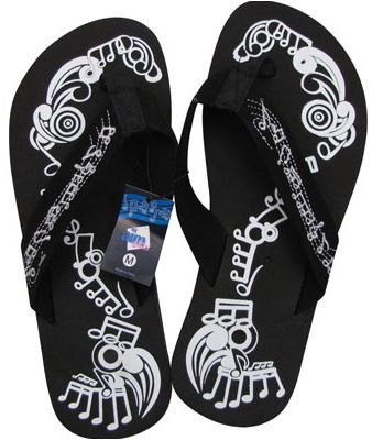 118403a41 Flip Flop Music Notes Black - Alabanza Music Gifts