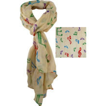 Scarf Beige w/Music Notes