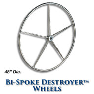 48-inch Stainless Bi-Spoke Destroyer Wheel with 1-inch Tapered Hub