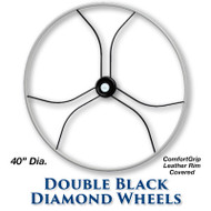 40-inch Double Black Diamond Wheel - ComfortGrip Leather Covered Rim