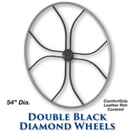 54-inch Double Black Diamond Wheel - ComfortGrip Leather Covered Rim
